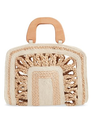 Shiraleah vega woven top handle bag