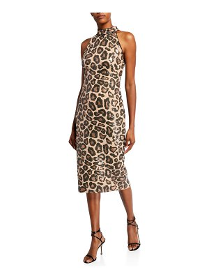 Sho Sequin Cheetah Sleeveless High-Neck Dress