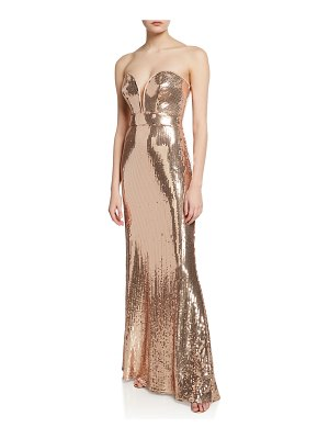 Sho Sequin Strapless Sweetheart Column Gown