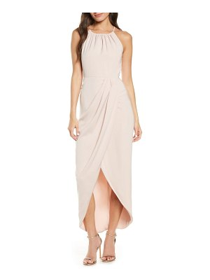 Shona Joy draped halter tulip gown