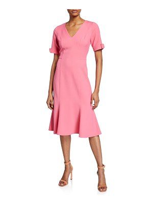 Shoshanna Laney V-Neck Bow-Cuff Crepe Dress
