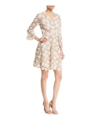 Shoshanna Ren Floral Lace V-Neck A-Line Dress