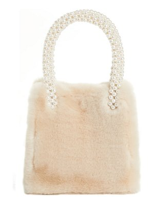 SHRIMPS faux fur handbag with imitation pearl handles