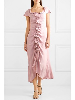 Sies Marjan portia ruffled ruched crepe marocain midi dress