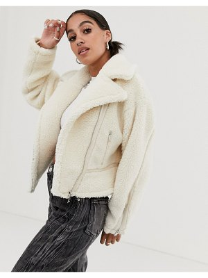 Signature 8 teddy cropped aviator jacket