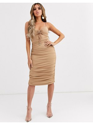 Significant Other horizon ruched bodycon midi dress-pink