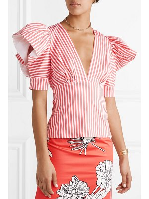Silvia Tcherassi laviana ruffled striped cotton-blend twill top