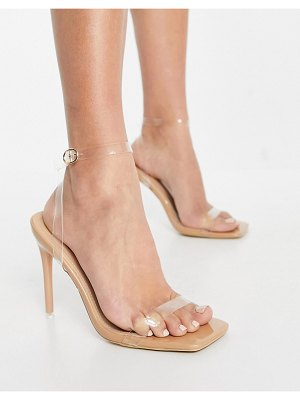 SIMMI Shoes simmi london acadia heeled sandals with clear heel in beige-neutral