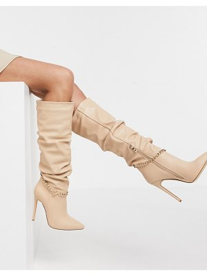 SIMMI Shoes simmi london cena stilletto knee boots with detachable chain in beige