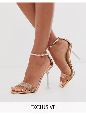 SIMMI Shoes simmi london exclusive elvie rose gold embellished sandals with clear statement heel