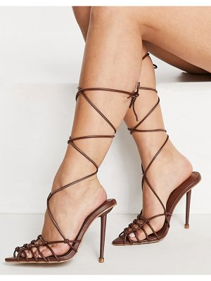SIMMI Shoes simmi london felicia caged heeled sandals in brown