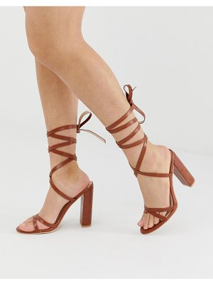 SIMMI Shoes simmi london heidi tan ankle tie block heeled sandals