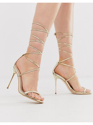 SIMMI Shoes simmi london jamaica ankle tie heeled sandals in gold
