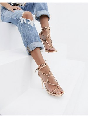 SIMMI Shoes simmi london jenny rose gold tie up heeled sandals
