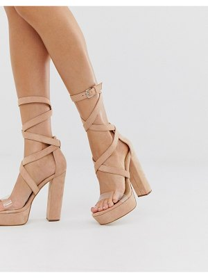 SIMMI Shoes simmi london milly exclusive blush platform sandals with clear detail