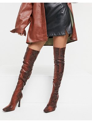SIMMI Shoes simmi london minar over the knee boots in brown snake