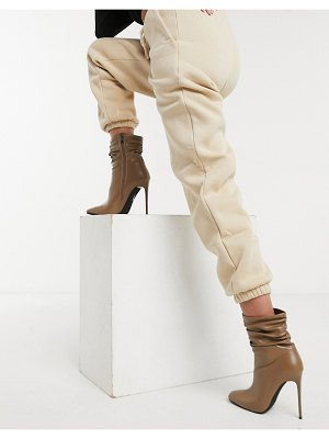 SIMMI Shoes simmi london olivia heeled ankle boots with slouch detail in beige