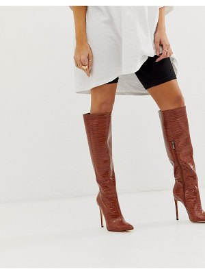 SIMMI Shoes simmi london samia brown croc stiletto knee boots-tan