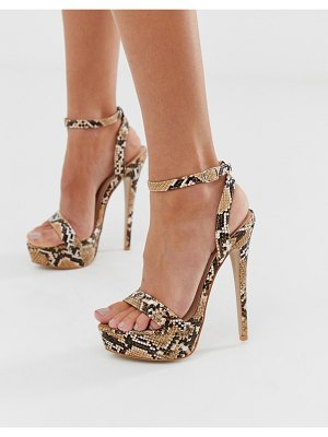 SIMMI Shoes simmi london scandal snake print platform heeled sandals