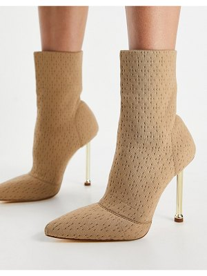 SIMMI Shoes simmi london shae sock boots with gold heel in beige