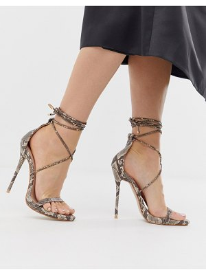 SIMMI Shoes simmi london shania tie up snake print heeled sandals