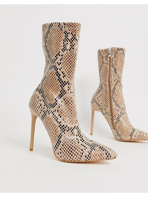 SIMMI Shoes simmi london tiana snake effect stiletto boots-beige