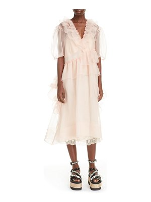 Simone Rocha asymmetrical ruffle silk organza midi dress