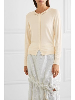 Simone Rocha bite back embellished ruffled cutout wool and silk-blend cardigan