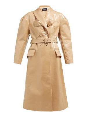 Simone Rocha double breasted laminated wool blend coat