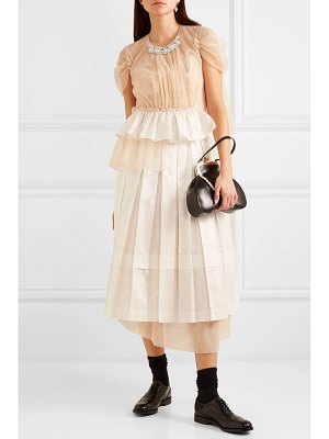 Simone Rocha embellished ruffled tulle and satin midi dress