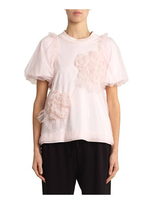 Simone Rocha Floral-Tulle Overlaid Jersey Tee