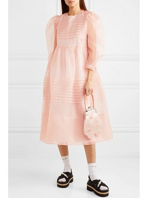 Simone Rocha pleated silk-organza midi dress