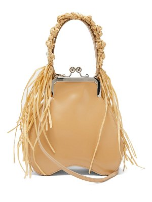 Simone Rocha faux raffia-trimmed leather handbag