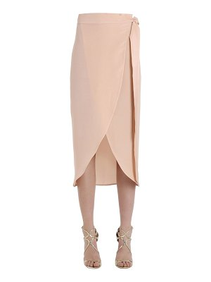SIRAN Silk crepe marocain wrap pencil skirt