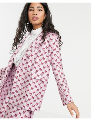 Sister Jane double breasted blazer in horse monogram jacquard two-piece-pink