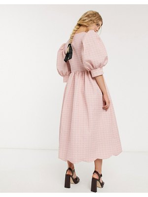 Sister Jane dream  midi wrap dress with volume sleeves and scallop hem in textured jacquard-pink