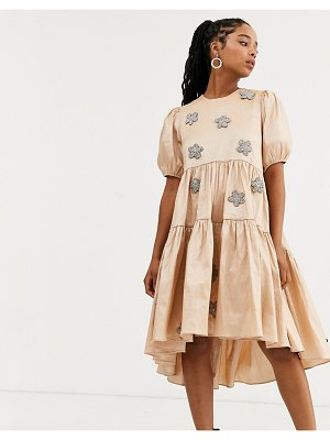 Sister Jane dream  tiered midaxi dress with puff sleeves and embellished flowers in taffeta