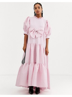 Sister Jane dream  tiered volume maxi dress with bow front in heart jacquard-pink