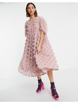 Sister Jane mini fluffy textured smock dress in pink