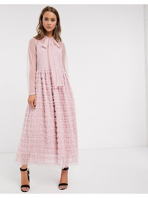 Sister Jane oversized maxi smock dress with full skirt in tiered tulle-pink