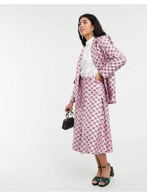 Sister Jane pleated midi skirt in horse monogram jacquard two-piece-pink