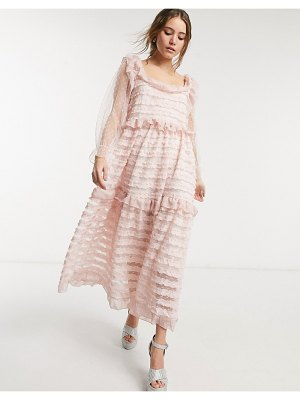 Sister Jane square neck ruffle tier maxi dress in pink
