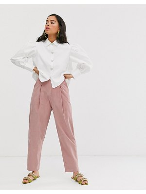 Sister Jane tailored peg pants with faux pearl button in baby cord-pink
