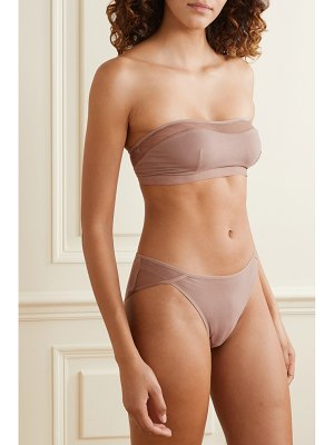 SKIN orly tulle-trimmed stretch organic pima cotton-jersey bandeau bra