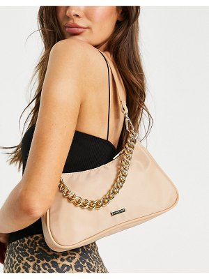 Skinnydip nylon shoulder bag in beige with chain-neutral