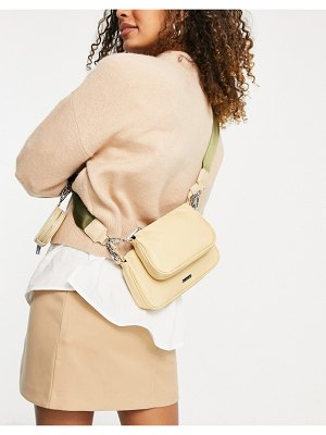 Skinnydip utility cross body bag in beige nylon with khaki strap-neutral