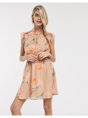 Skylar Rose mini dress with shirred waist and tie neck in vintage floral-pink