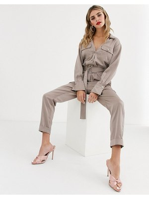 Skylar Rose relaxed boiler suit in soft satin-gold