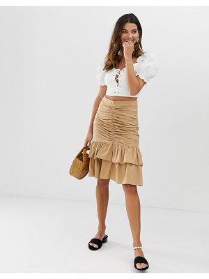 Skylar Rose ruched front midi skirt-brown