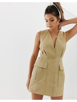 Skylar Rose utility mini dress with plunge front